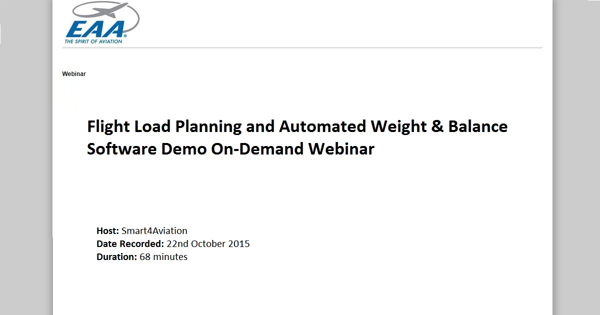 Flight Load Planning and Automated Weight & Balance Software Demo On-Demand Webinar