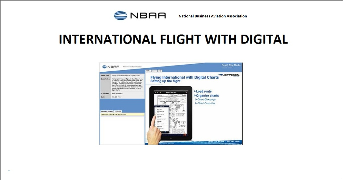 Webinar Discusses International Flight With Digital Charts