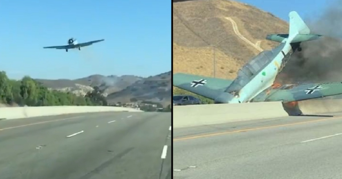 WWII era plane CRASHES into California motorway and bursts into flames
